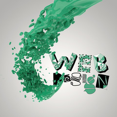 3D paint color splash with design word WEB DESIGN  as concept