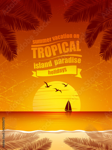 summer vacation on tropical island  Sunset,  with Palm trees