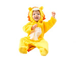 Child girl,dressed in lion carnival suit, isolated on white