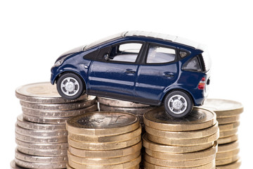 Auto und Euromünzen