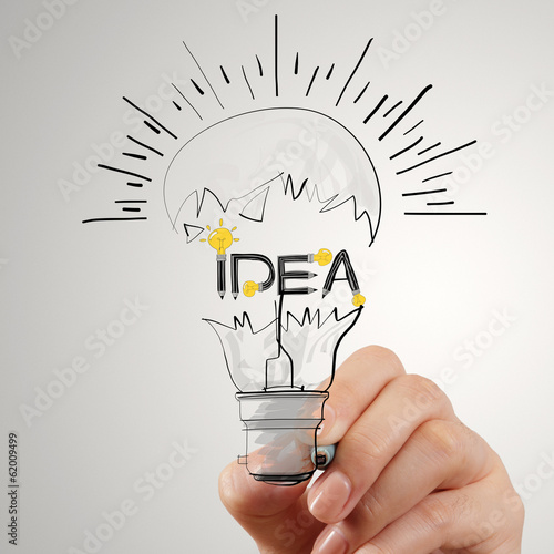 hand drawing light bulb and IDEA word design as concept