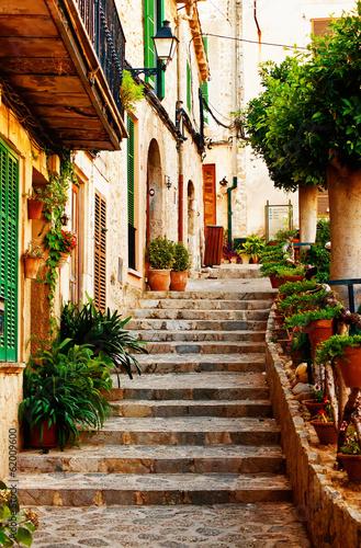 Leinwanddruck Bild Street in Valldemossa village in Mallorca