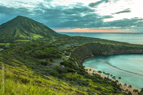 Foto Spatwand Vulkaan Koko Head Crater and Hanauma Bay