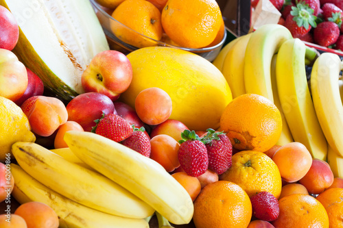 Many ripe fruits at table