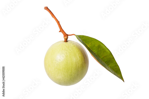 green color star apple fruit with leaf isolated on white