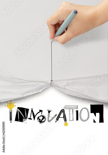 hand draw rope open wrinkled paper show graphic design word INNO