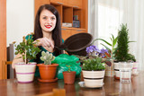 woman transplanting flowers plant in flowerpot