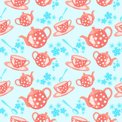 morning tea seamless pattern