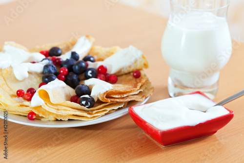 delicious breakfast.  Sweet pancakes with berries