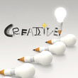 pencil lightbulb 3d and design word CREATIVE as concept