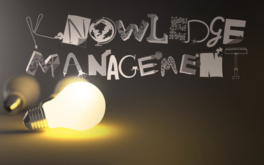 creative design hand drawn KNOWLEDGE MANEGEMENT word and light b