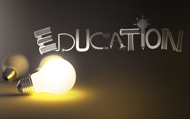 creative design hand drawn EDUCATION word and light bulb 3d as c