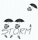 Monochrome Owl storm twig text