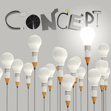 pencil lightbulb 3d and design word CONCEPT as concept