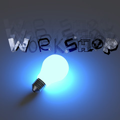 3d light bulb growing design word WORKSHOP as concept