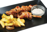 Chicken kebabs with potato