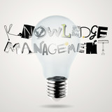 lightbulb 3d and design word KNOWLEDGE MANEGEMENT as concept