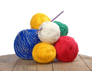 balls of colored yarn on the boards, knitting .