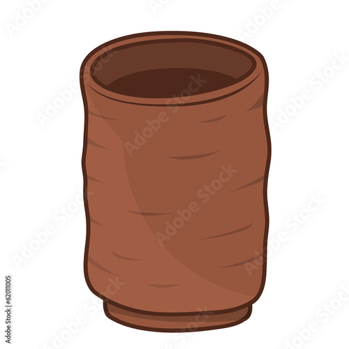 Clay cup isolated illustration