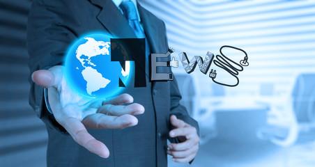 businessman hand draw design word BUSINESS NEWS as concept