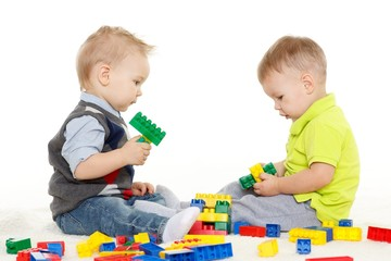 Children play with toys.