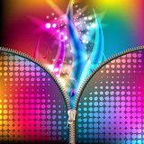 Disco background covered by metallic zipper
