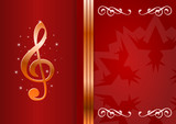 Celebration background with treble clef and place for your text.