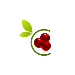 Logo with red cherries and green leaves