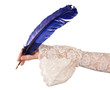 Hand with blue quill feather