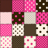 Seamless pattern of polka dot patchworks