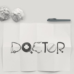 design word DOCTOR on white crumpled paper and texture backgroun
