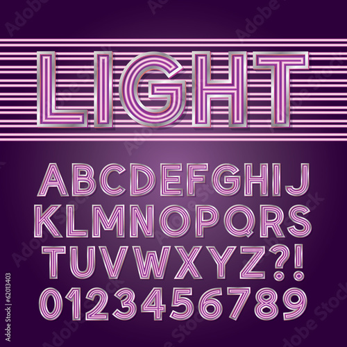 Purple Parallel Neon Light Alphabet and Numbers, Eps 10 Vector E