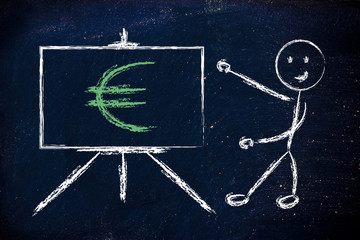 euro currency symbol in blackboard design