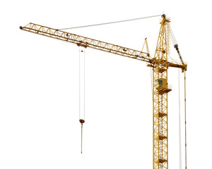 single isolated dark gold hoisting crane