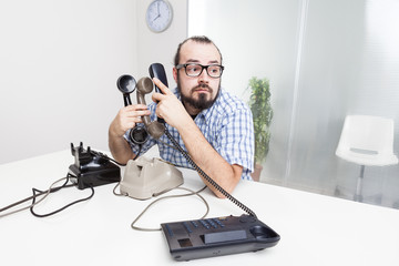 Stressful work with many telephones