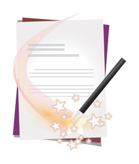 Vector letter with magic wand and transparent stars
