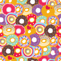 Cute seamless pattern with donuts.