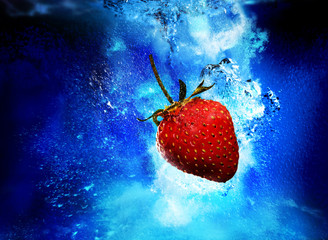 strawberry underwater