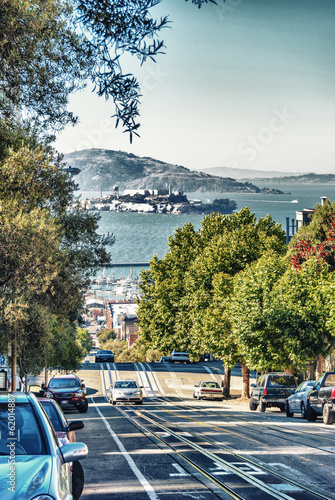 Partucular view of Alcatraz from San Francisco hills