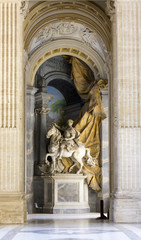 Monumental equestrian statue of Charlemagne.