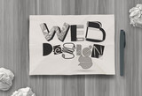 hand drawn web design diagram on crumpled paper background as co