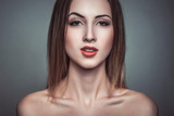 Glamour portrait of sarcasm beautiful attractive brunette woman