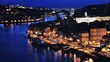 Aerial night view of Porto, Portugal