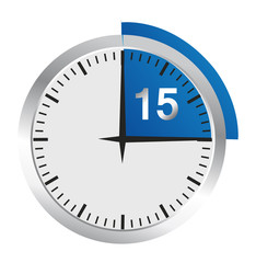 Clock 15 Minutes To Go - Bright Chrome Clock