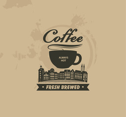 banner with cup of coffee on background of spotty background