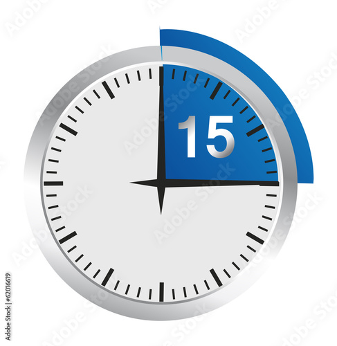 Clock 15 Minutes To Go - Bright Chrome Clock