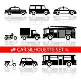car silhouette icons set with reflection vector