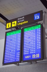Flight information monitors, Malaga © Arena Photo UK