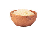 Rice in a wooden bowl, isolated on white background