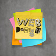 hand drawn WEB DESIGN on sticky note and texture  background as